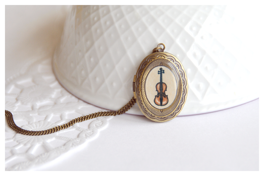 Miniature Violin Locket by Leviana