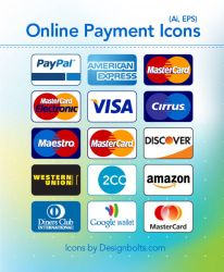 Free credit card payment icons by Designbolts