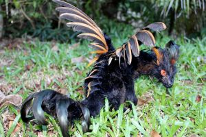 Who are you...? - Poseable art doll dragon by SonsationalCreations