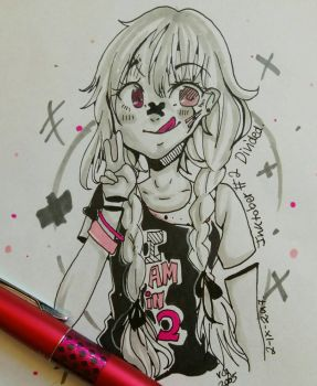 Inktober 2017 #2 - [Divided] - Zombie Girl by rcg3005