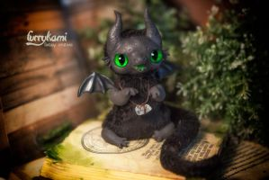 Black dragon toy by Furrykami-creatures