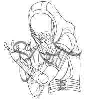 Tali Lineart by almightyblah