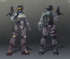 Support soldier concept. by Krokobyaka