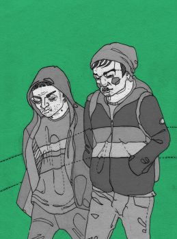 Two guys in matching hoodies by MCRgripa