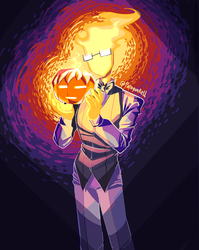 Grillby for halloween by paragonkell80