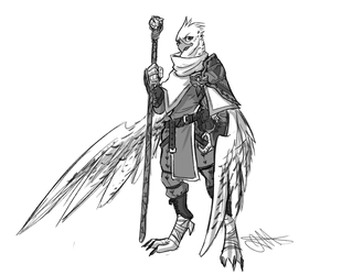 [Commission] Aarakocra Cleric by Skyserpent