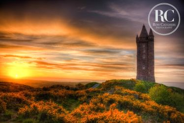 Sunset at Scrabo Tower by rosscaughers