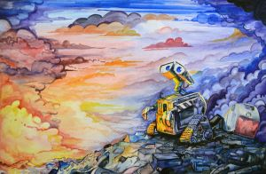 Wall-e Watercolor by susara86