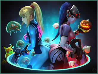 Zero Suit Samus and Widowmaker by Urbanator