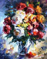 Roses by Leonid Afremov by Leonidafremov