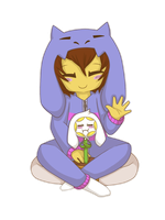 Frisk and the goat sleep suit by Niutellat