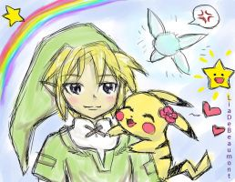 Link and Pikachu by LiaDeBeaumont