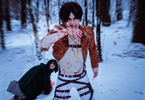 Winter cosplay: Mikasa and Eren #1 by Tovarish-N