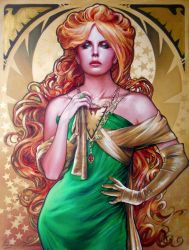 JEAN GREY/PHOENIX ART NOUVEAU STYLE PORTRAIT by FredIanParis