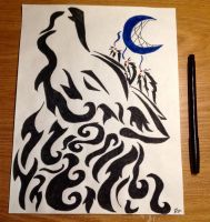 Tribal Wolf and Moon Dreamcatcher by Jade-the-Kitsune