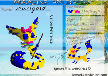 Marigold Paradise Application by SterlingTheUmbreon