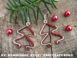 Silver-red Christmas Tree earrings by DombiHugi