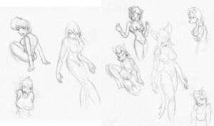 Female Furry sketches 5 by CaseyLJones