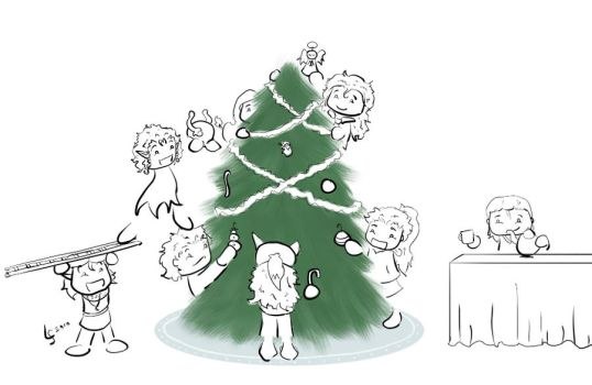 Decorating the Tree -lineart- by Kid-Apocalypse