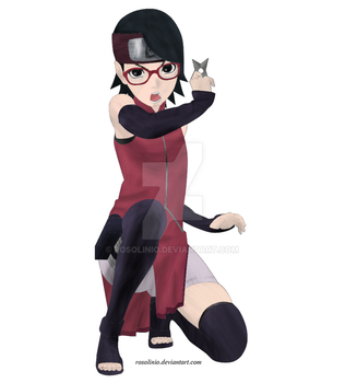 Sarada Uchiha lineart colored by rosolinio
