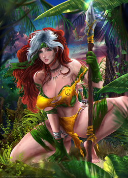 Savage Rogue from the X-Men -Commission + Nsfw by Reivash