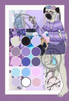 Moodboard adopt-Flower purple pug by Pinkwolfly