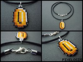 Handmade Seed Bead Coin Necklace by Pixelosis