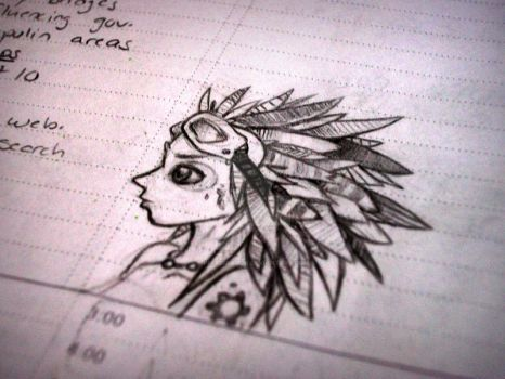 Notebook Doodle - Featherhead by InariDragon