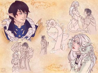 Sketchpage: Aymeric and Verdandir by TsuchiKuroi