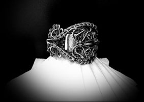 Silver ring, natural hematite, handmade, wire jewe by Atalia65