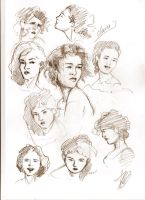 Claire Fraser head sketches by aryundomiel