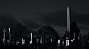 Spooky Graveyard at night by BusterBrownBB