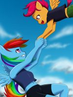 Rainbow Dash and Scootaloo by Skecchiart