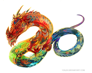 Rainbow dragon tattoo art by Yuuza