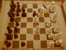 Sepia Chess Board by divineforge