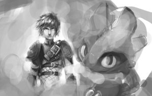 Le Hiccup and le Toothless by Chingilin
