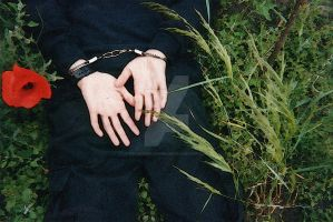 Painting style. Handcuffed boy in the grass. by SneakerBoyBondage