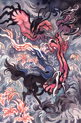 Xerneas and Yveltal by cryptosilver