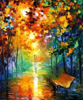 Misty Park by Leonid Afremov by Leonidafremov