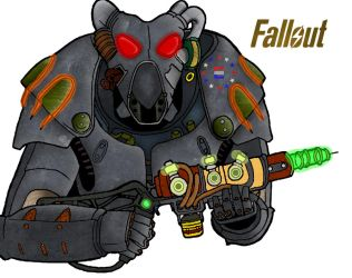 Fallout X-01 Power Armor Line Art Coloring by MNSVocaloid