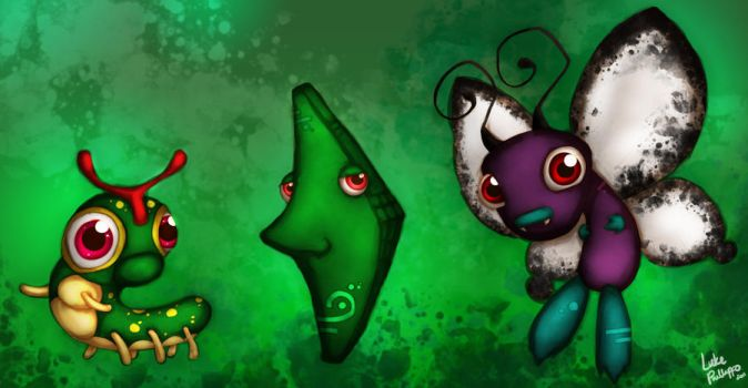 Caterpie, Metapod, Butterfree by Phillippeaux