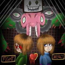 Chara, Frisk and Omega Flowey by 1Toto1