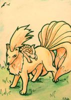 ACEO 187 - Ninetales and Vulpix cub by Clopina