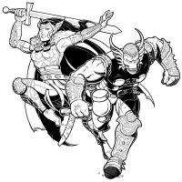 Beta Ray Bill and Lady Sif by ClaudiaCangini