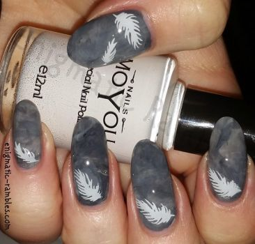 Feather Marble Nails by EnigmaticRambles