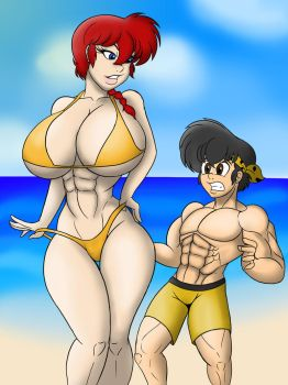 Ranma goes to the beach by Tomkat96