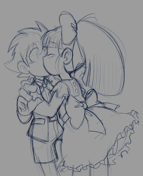 Megaman and Roll 30th Anniversary kiss sketch by meteorstom