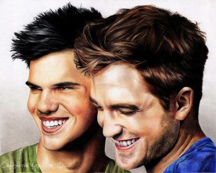 Taylor Lautner and Robert Pattinson by cindy-drawings