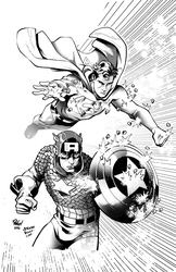 superman and Captain America  by vagrantt