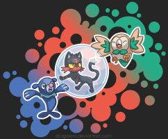 The Alola Starters by Dragoleni